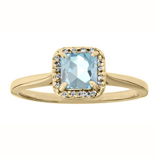 Aquamarine Gemstone Diamond Halo Ring In Yellow Gold