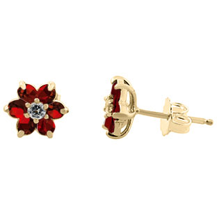 Garnet Gemstone Diamond Flower Stud Earrings In Yellow Gold