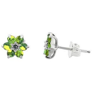 Peridot Gemstone Diamond Flower Stud Earrings In White Gold
