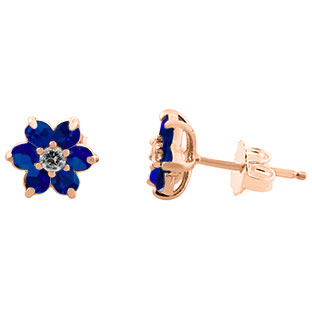 Blue Sapphire Gemstone Diamond Flower Stud Earrings In Rose Gold