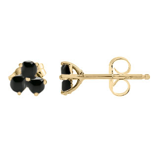 Black Onyx Gemstone 3 Stone Stud Earrings In Yellow Gold