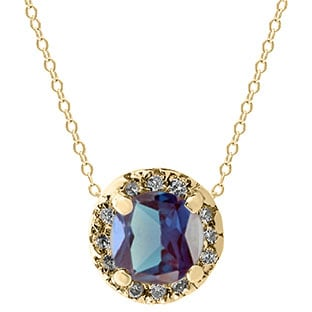 Alexandrite Gemstone Diamond Halo Pendant In Yellow Gold