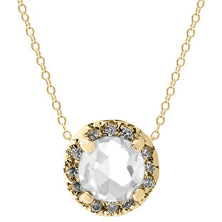 White Topaz Gemstone Diamond Halo Pendant In Yellow Gold