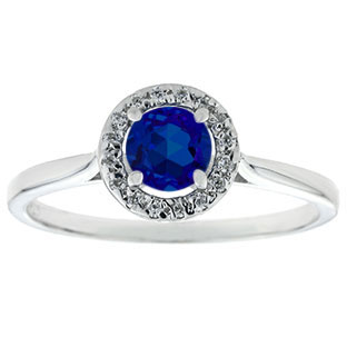 Halo Jewelry - Blue Sapphire Birthstone Diamond Halo Ring In White Gold