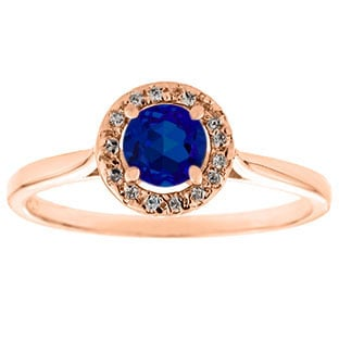 Halo Jewelry - Blue Sapphire Birthstone Diamond Halo Ring In Rose Gold