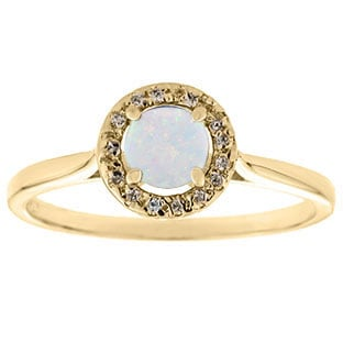 Halo Jewelry - Opal Birthstone Diamond Halo Ring In Yellow Gold