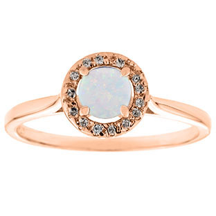 Halo Jewelry Opal Birthstone Diamond Halo Ring In Rose Gold