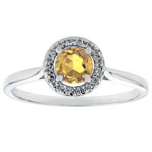 Halo Jewelry - Citrine Birthstone Diamond Halo Ring In White Gold