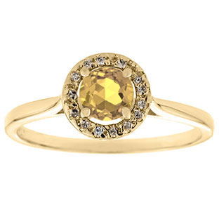 Halo Jewelry - Citrine Birthstone Diamond Halo Ring In Yellow Gold