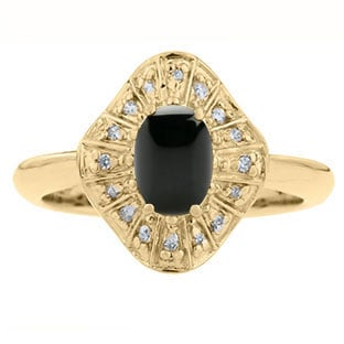 Diamond Black Onyx Birthstone Ballerina Ring In Yellow Gold