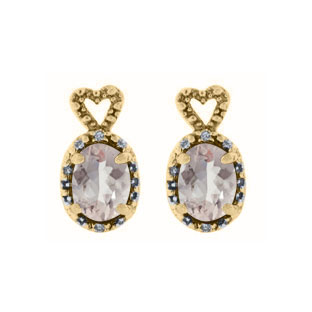 Yellow Gold Diamond Oval Morganite October Gemstone Earrings