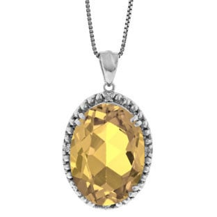 Large Oval Citrine Gemstone Diamond Pendant In White Gold