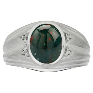 Oval Cut Bloodstone Birthstone Diamond Men's Ring In White Gold