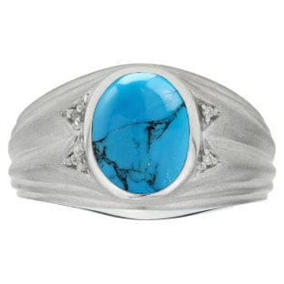 Oval Cut Turquoise Birthstone Diamond Men's Ring In White Gold