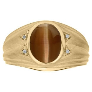 Oval Cut Brown Cat Eye Birthstone Diamond Men's Ring In Yellow Gold