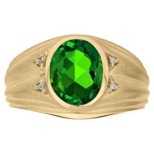 Oval Cut Emerald Birthstone Diamond Men's Ring In Yellow Gold