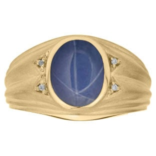 Oval Cut Blue Star Sapphire Birthstone Diamond Men's Ring In Yellow Gold