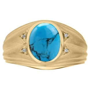 Oval Cut Turquoise Birthstone Diamond Men's Ring In Yellow Gold