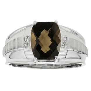 Cushion Cut Smoky Quartz Gemstone Diamond Men's Ring In White Gold