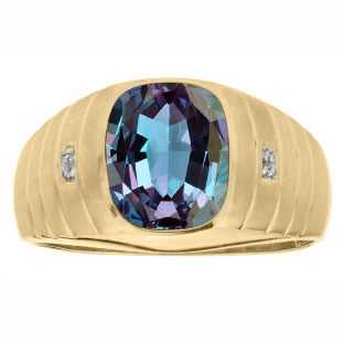 Diamond Cushion Cut Alexandrite Gemstone Men's Ring In Yellow Gold By Gemologica