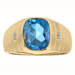 Diamond Cushion Cut Blue Topaz Gemstone Men's Ring In Yellow Gold