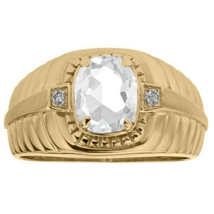 Cushion Cut White Topaz Birthstone Diamond Men's Ring In Yellow Gold