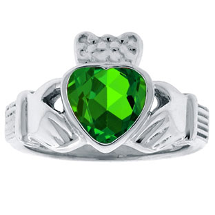 Emerald Birthstone Heart Irish Claddagh Symbol Wedding Ring In White Gold
