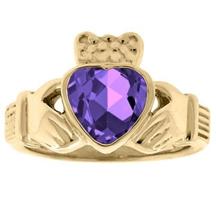 Amethyst Birthstone Heart Irish Claddagh Symbol Wedding Ring In Yellow Gold
