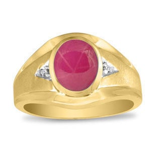 Men's Oval Red Star Ruby Diamond Dual Finish Yellow Gold Ring