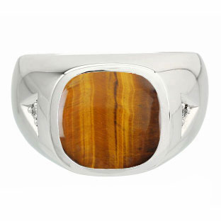 Diamond and Antique Cushion Cut Tiger Eye Men's Sterling Silver Ring