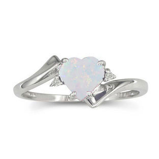 Diamond Heart Shaped Opal Birthstone White Gold Ring