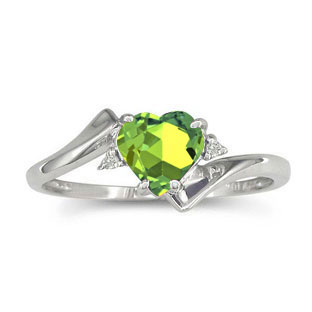Diamond Heart Shaped Green Peridot Birthstone White Gold Ring