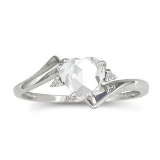 Diamond Heart Shaped White Topaz Birthstone White Gold Ring