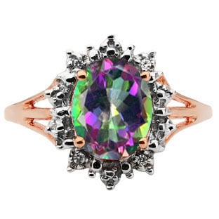 Diamond Oval Mystic Topaz Gemstone Rose Gold Starburst Ring