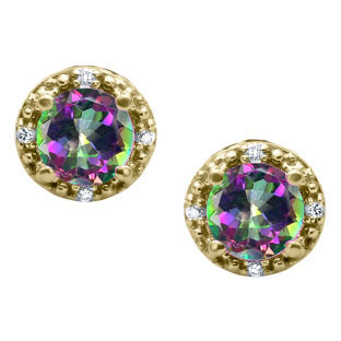 Round Cut Mystic Topaz Birthstone Diamond Yellow Gold Stud Earrings
