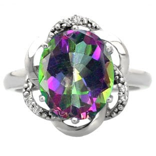 Bold Oval Cut Mystic Topaz Gemstone Diamond Sterling Silver Ring