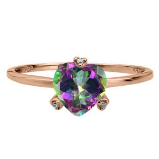 Simple Heart Shaped Mystic Topaz Gemstone Diamond Rose Gold Ring