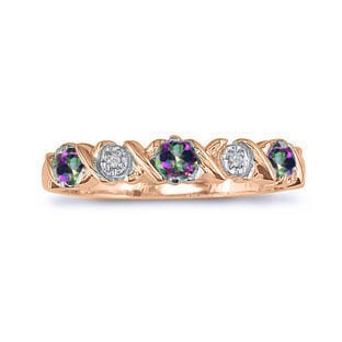 Mystic Topaz and Diamond Rose Gold Band Ring Gemologica A Fine