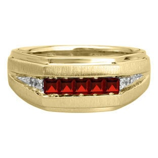 Men's Red Garnet and Diamond Yellow Gold Ring