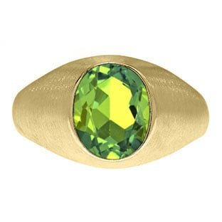 Oval-Cut Peridot Stone Custom Men's Pinky Ring In Yellow Gold