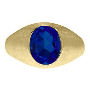 Oval-Cut Sapphire Stone Custom Men's Pinky Ring In Yellow Gold