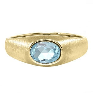 East-West Oval Cut Aquamarine Yellow Gold Pinky Ring For Men