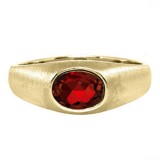 East-West Oval Cut Garnet Yellow Gold Pinky Ring For Men