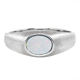 East-West Oval Cut Opal White Gold Pinky Ring For Men