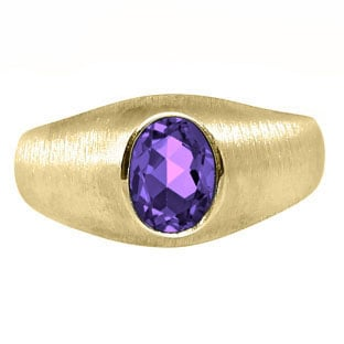 Yellow Gold Pinky Ring For Men Oval-Cut Amethyst Gemstone
