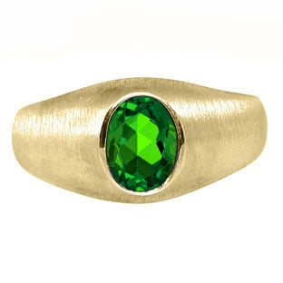 Yellow Gold Pinky Ring For Men Oval-Cut Emerald Gemstone