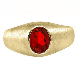 Yellow Gold Pinky Ring For Men Oval-Cut Ruby Gemstone