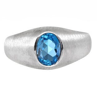 White Gold Pinky Ring For Men Oval-Cut Blue Topaz Gemstone