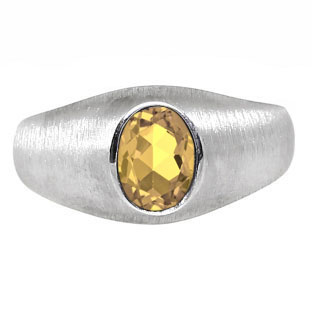 White Gold Pinky Ring For Men Oval-Cut Citrine Gemstone