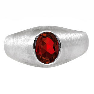 White Gold Pinky Ring For Men Oval-Cut Garnet Gemstone